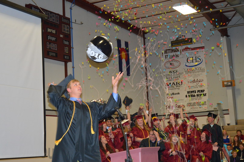 Merino senior class president Quinn Tappy hits a beach ball into the audience as the Class of 2016 celebrates following the graduation ceremony Sunday, May 15, 2016.