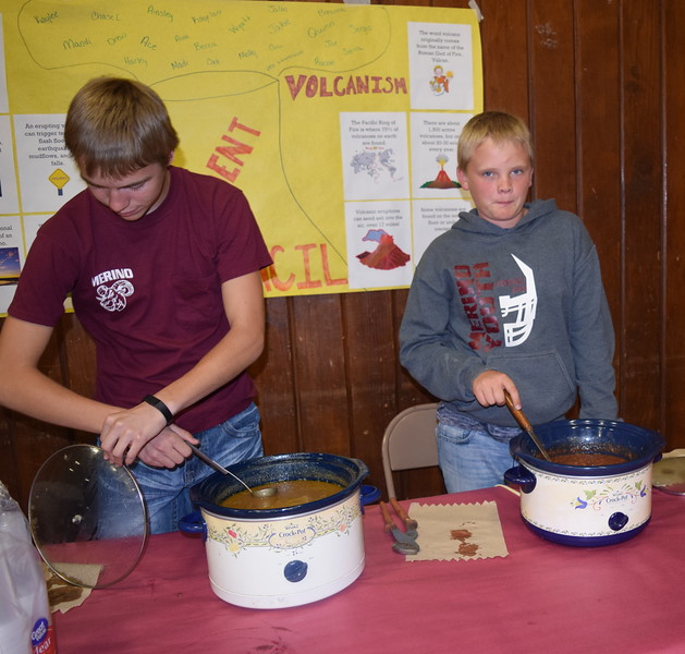 Students prepare food for one of the stations at Merino High School and Elementary's Walking Dinner Thursday, April 28, 2016.