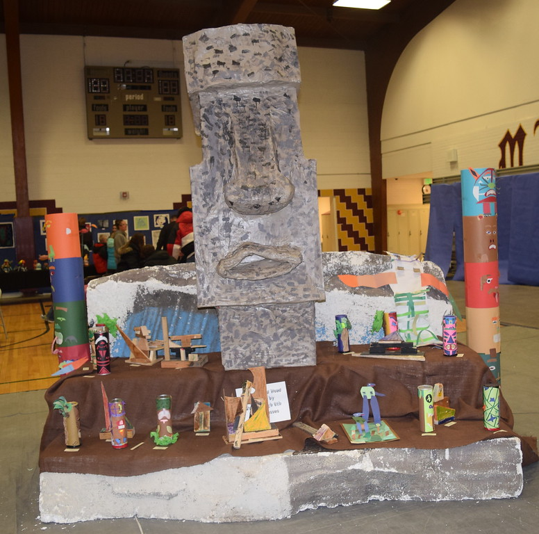Easter Island art projects creatd by elementary students were among the projects on display at Merino Elementary and High School's Art Show, part of the Walking Dinner the schools had Thursday, April 28, 2016.