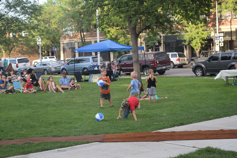 Beach balls given out by Colorado Christian University provided fun for kids at the Transwest Concerts on the Green...July Jamz concert Friday, July 22, 2016.