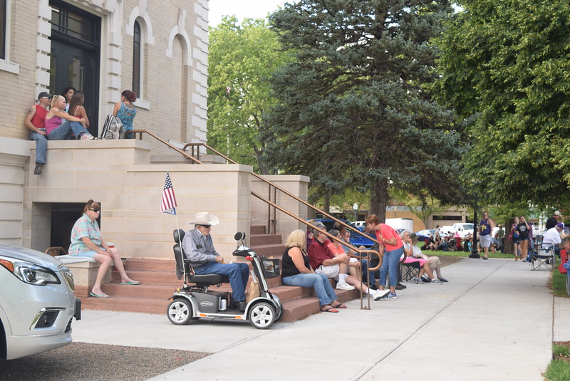 The steps at the Logan County Courthouse provided a great place to listen to the music of Mojomama at the Transwest Concerts on the Green...July Jamz concert Friday, July 22, 2016.