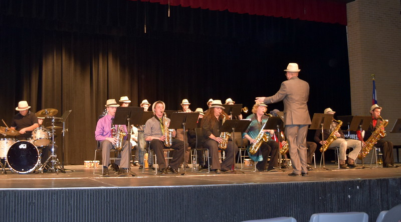 "The NJC Community Jazz Band performs ""Sing, Sing, Sing,"" under the direction of Lee Lippstrew, during NJC's Winter Ensemble Concert, Saturday, Dec. 10, 2016. Each band member wore a Fedora in memory of band member Donn Folkerts, who passed away last month. Saturday's concert was dedicated to Folkerts."