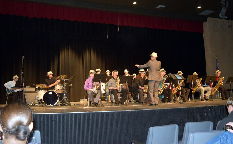 """The NJC Jazz Band performs """"Sing, Sing, Sing,"""" under the direction of Lee Lippstrew, during NJC's Winter Ensemble Concert, Saturday, Dec. 10, 2016."""