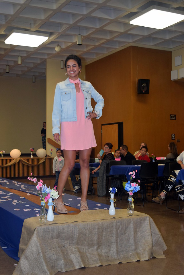 Ava Ortega models a dress and jacket from Bealls at the NJC Cosmetology Fashion Show Fundraiser Saturday, Feb. 25,  2017.