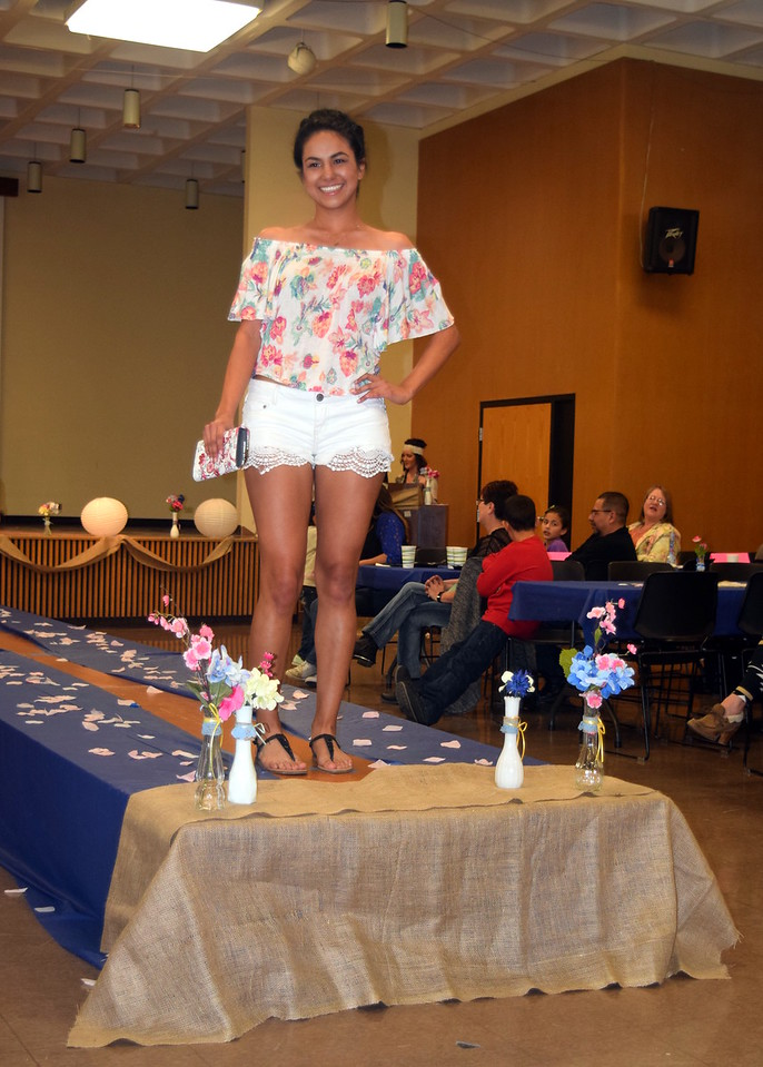 Ava Ortega models shorts and a shirt from the Clothes Line at the NJC Cosmetology Fashion Show Fundraiser Saturday, Feb. 25,  2017.
