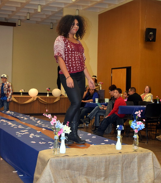 Simone Marcus models pants and a top from Clothes Line at the NJC Cosmetology Fashio Show Fundraiser Saturday, Feb. 25, 2017.