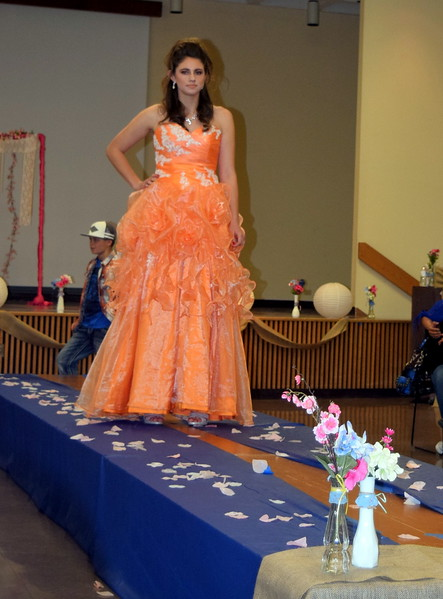 A Northeastern Junior College student models a formal dress from Enchanted Dreams at the NJC Cosmetology Fashion Show Fundraiser Saturday, Feb. 25,  2017.