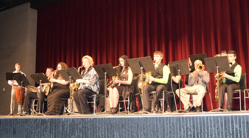 The NJC Community Jazz Band performs, under the direction of Lee Lippstrew, during the E.S. French grand re-opening celebration Saturday, April 2, 2016.