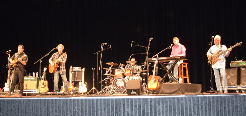 The Eagles tribute band The Long Run perform during a concert at the E.S. French grand re-opening celebration Saturday, April 2, 2016.