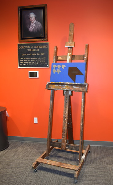 A plaque honoring Dorothy Corsberg and an art piece listing donors who have sponsored a seat in the Dorothy Corsberg Theatre sit in front of the theatre at the E.S. French grand re-opening celebration Saturday, April 2, 2016.