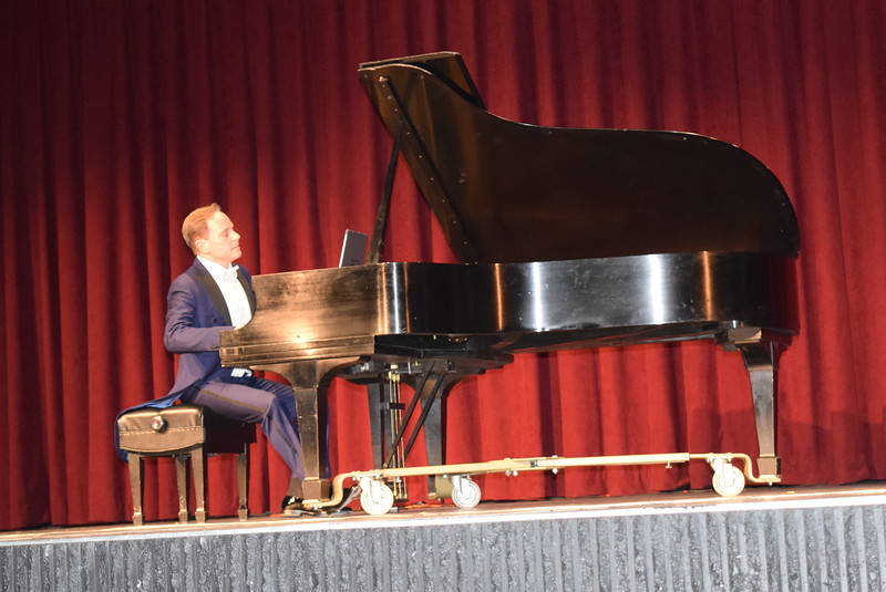 "International piano star Richard Steinbach performs ""Simple Gifts"" during the first ever concert in the newly renovated Dorothy Corsberg Theatre, part of the E.S. French grand re-opening celebration Saturday, April 2, 2016."