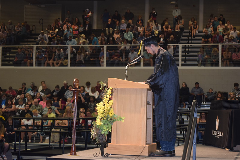 Alan A. Michael gives the benediction at Northeastern Junior College's commencement ceremony Friday, May 12, 2017.