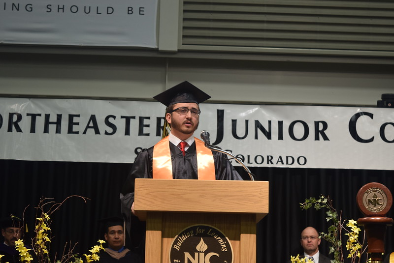Associate Student Government President Christian Saunders shares some of his life story during Northeastern Junior Colelge's commencement Friday, May 12, 2017.