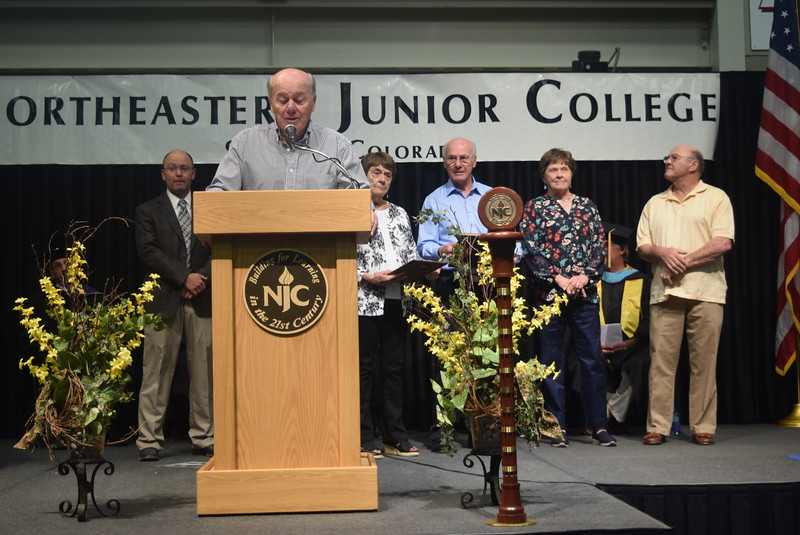 Pride in Association Award recipients the John and Katherine Sanger Family give remarks at Northeastern Junior College's commencement ceremony Friday, May 12, 2017.