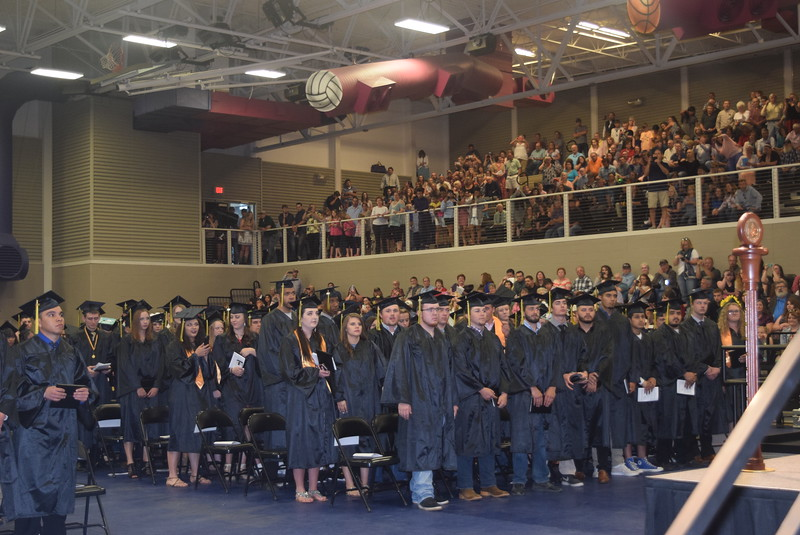 Graduates wait to flip their tassels at Northeastern Junior College's commencement ceremony Friday, May 12, 2017.