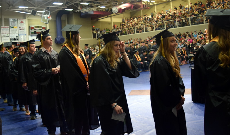 Graduates wait to receive their degrees and or certificates at Northeastern Junior College's commencement ceremony Friday, May 11, 2018.