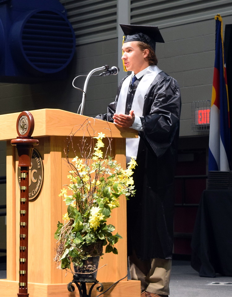 Northeastern Junior College Associated Student Government President Tyler Szymkowicz gives remarks at the commencement ceremony Friday, May 11, 2018.