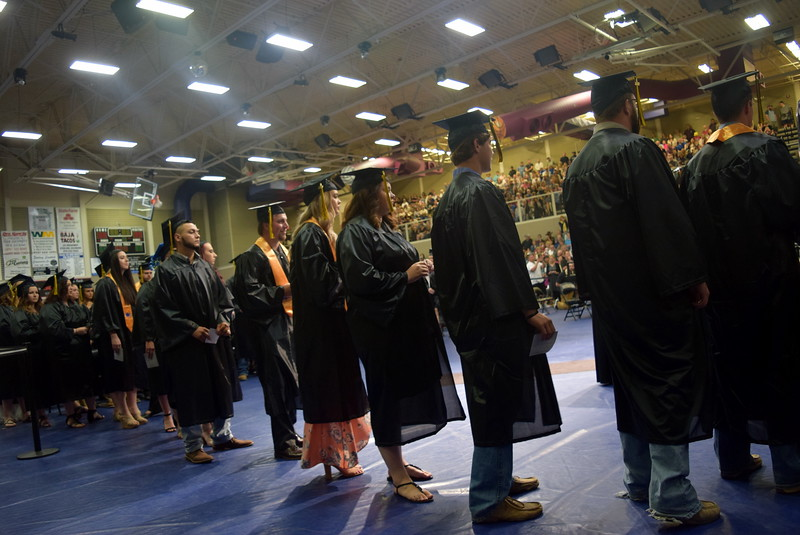 Graduates line up to receive their degree and/or certificate at Northeastern Junior College's commencement ceremony Friday, May 11, 2018.