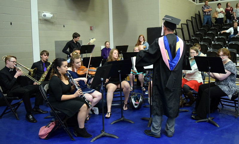 "The Northeastern Junior College Concert Band performs ""Soul Bossa Nova,"" under the direction of Lee Lippstrew, at the college's commencement ceremony Friday, May 11, 2018."