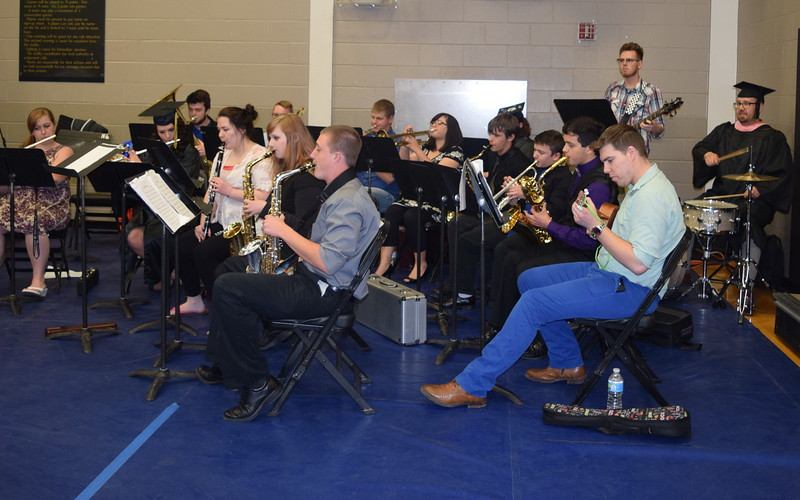 """The Northeastern Junior College Concert Band performs """"Soul Bossa Nova"""" at the end of the college's commencement ceremony Friday, May 13, 2016."""