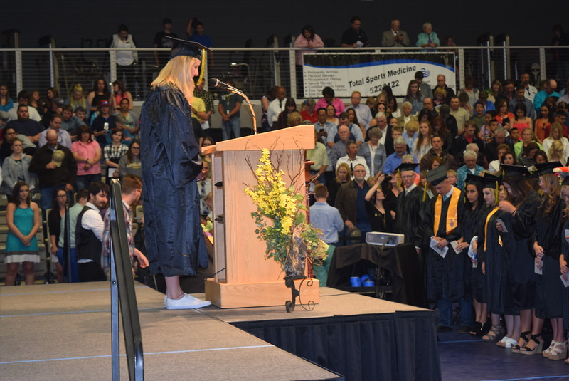 Jessica Lauritzen gives the invocation at Northeastern Junior College's Commencement Ceremony Friday, May 13, 2016.