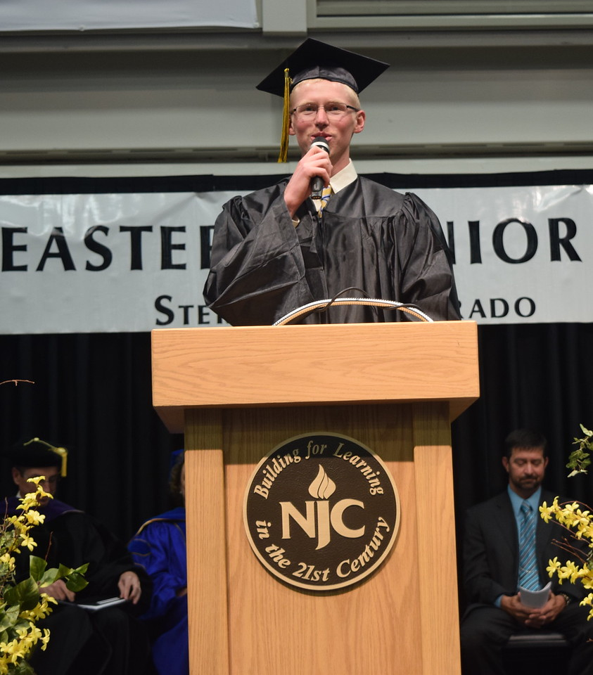 Associated Student Government President John Ottoson gives remarks during Northeastern Junior College's Commencement Ceremony Friday, May 13, 2016.