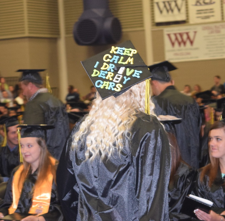 Graduates caps displayed a variety of decorations and messages at Northeastern Junior College's Commencement Ceremony Friday, May 13, 2016.
