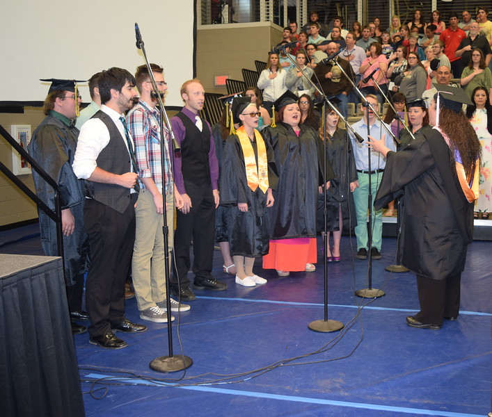 The Northeastern Junior College Contemporary Choir performs the National Anthem, under the direction of Celeste Delgado-Pelton, during NJC's Commencement Ceremony Friday, May 13, 2016.