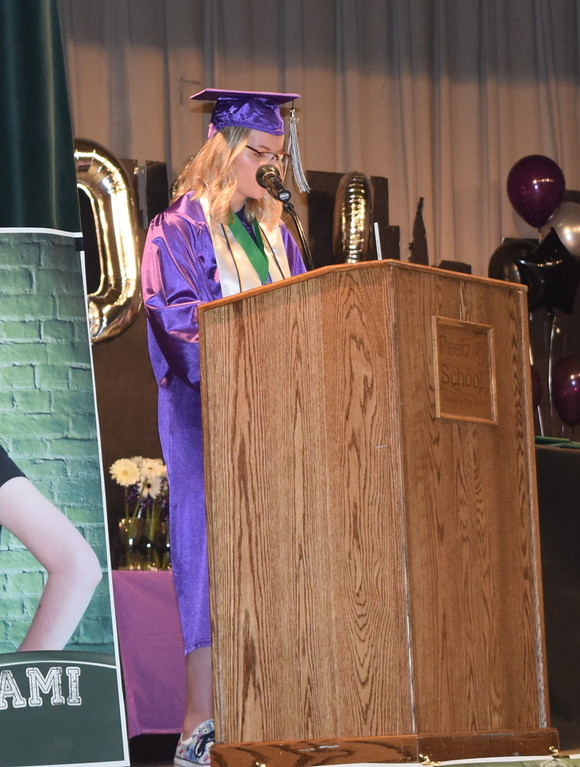 . Valedictorian Larami Bruner gives remarks at Peetz High School\'s commencement ceremony Sunday, May 13, 2018.