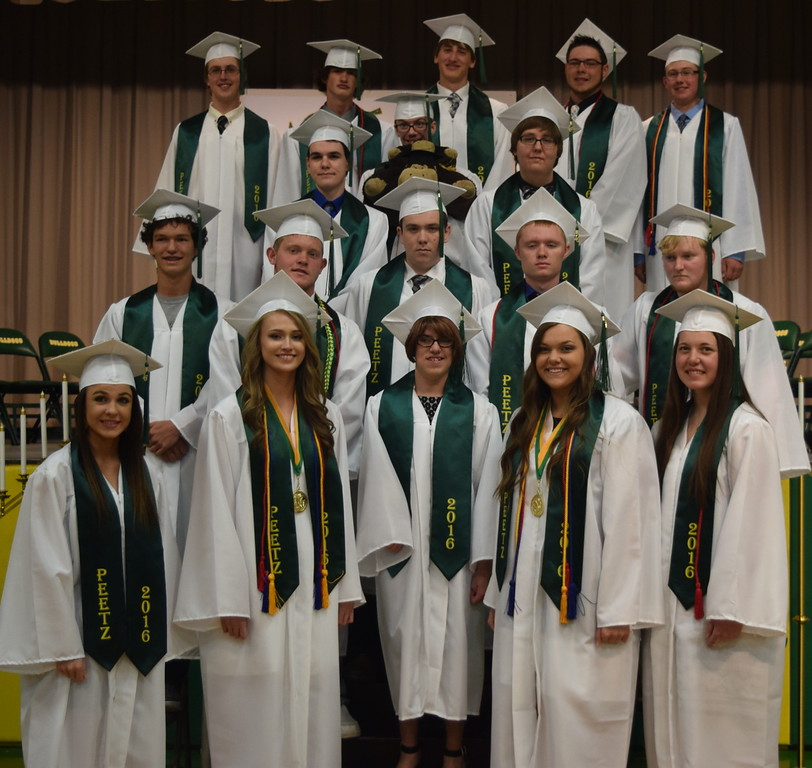 The 2016 graduates of Peetz High School. Front row, from left; Kyndall Lowry, Mikenna Curlee, Katrina Curtis, Jodie Schumacher and Tyra Foreman. Second row, from left; Wolfgang Wenneker, Jordan Nelson, Robert Roderick, Wyatt Hill and Jordan Buss. Third row, from left; Colby Bellendir, Christian Travis and Gabriel Carnahan-Kuhns. Back row, from left; Joseph Griswinski, Shawn Bernhardt, Patrick Naegele, Garrin Cox and Adam Davis.