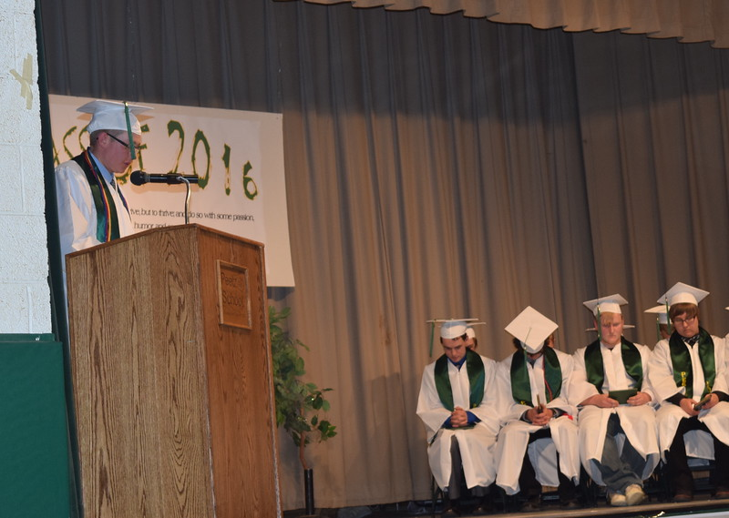 Adam Davis gives the benediction at the close of Peetz High School's commencement ceremony Sunday, May 15, 2016.