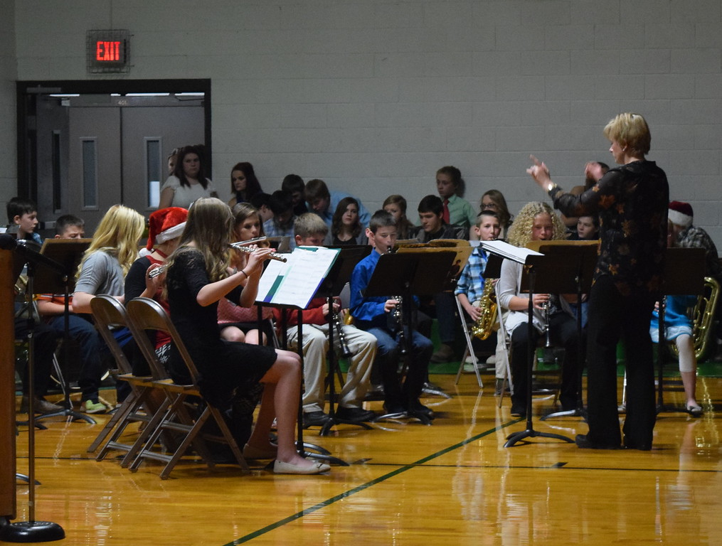 ". The fifth and sixth grade band, with some help from a few high school students, performs ""The Little Drummer Boy,\"" under the direction of Jamie Wheelock, at Peetz School\'s K-12 Winter Concert Thursday, Dec. 14, 2017."