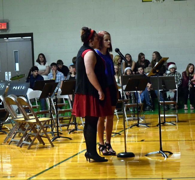 "Jewella Buchanan and Kylie Howell sing a duet, ""Do You Hear What I Hear?"" at Peetz School's K-12 Winter Concert Thursday, Dec. 14, 2017."