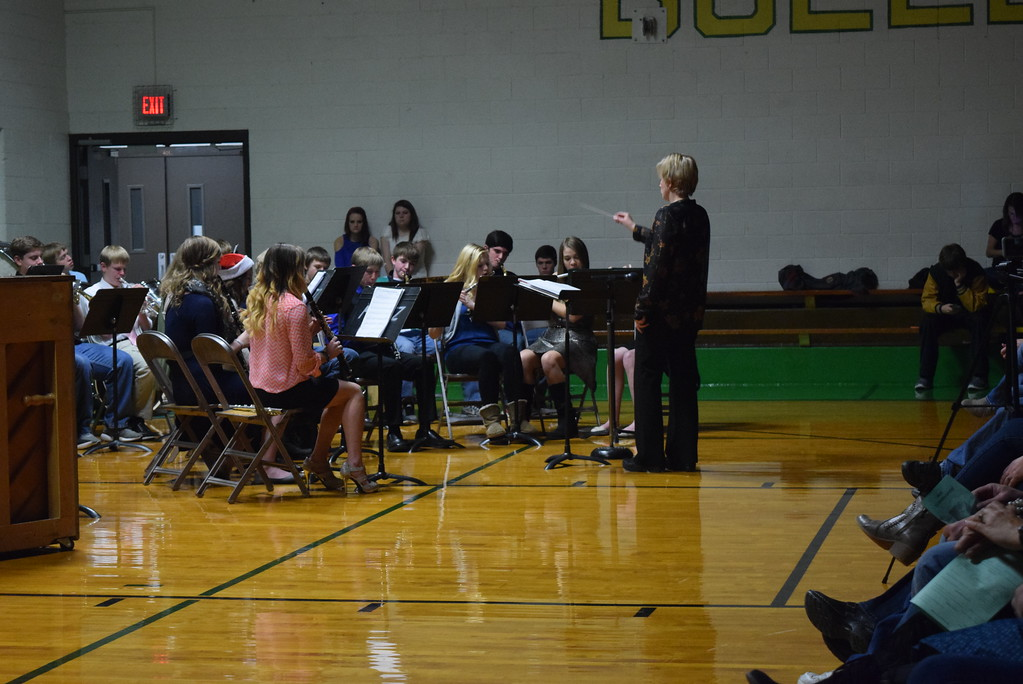 ". The junior high/high school band performs ""I\'ll Be Home for Christmas,\"" under the direction of Jamie Wheelock, at Peetz School\'s K-12 Winter Concert Thursday, Dec. 14, 2017."