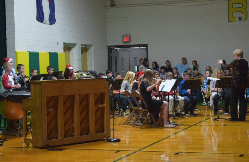 "The fifth and sixth grade band, with some help from a few high school students, performs ""The Little Drummer Boy,"" under the direction of Jamie Wheelock, at Peetz School's K-12 Winter Concert Thursday, Dec. 14, 2017."