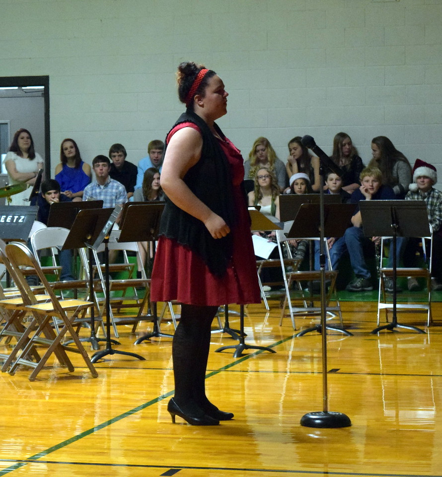 "Jewella Buchanan sings a solo ""Burning House"" at Peetz School's K-12 Winter Concert Thursday, Dec. 14, 2017."