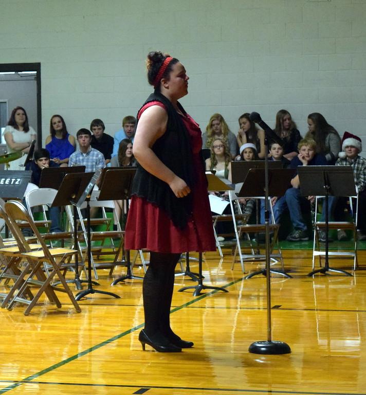 ". Jewella Buchanan sings a solo \""Burning House\"" at Peetz School\'s K-12 Winter Concert Thursday, Dec. 14, 2017."
