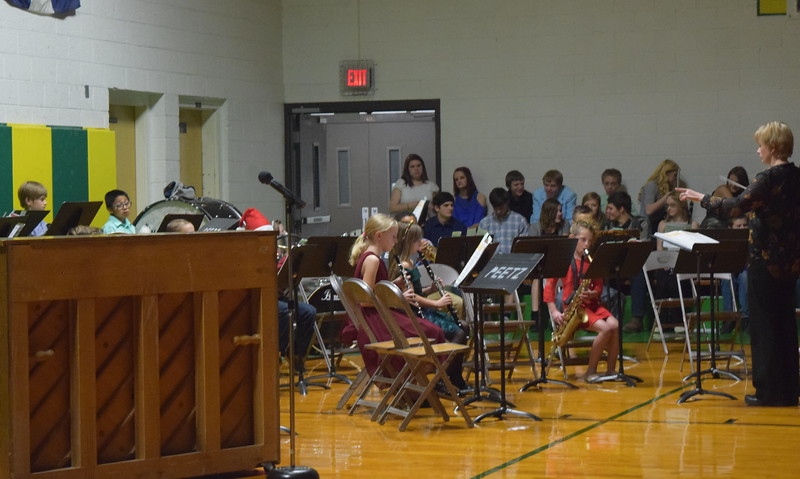 "The fourth grade band performs ""Jolly Old St. Nick,"" under the direction of Jamie Wheelock, at Peetz School's Winter Concert Thursday, Dec. 14, 2017."