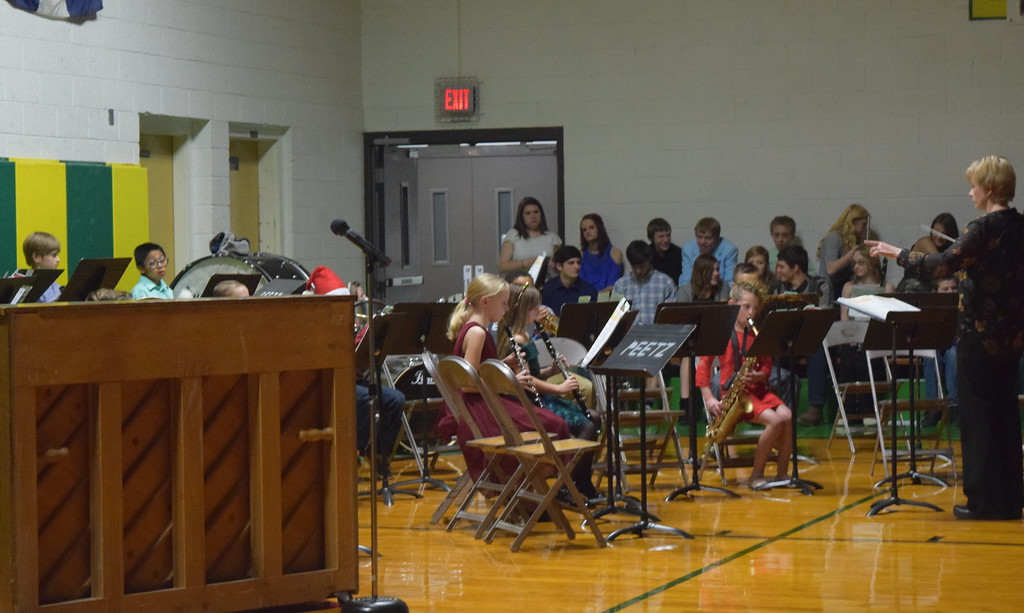 ". The fourth grade band performs ""Jolly Old St. Nick,\"" under the direction of Jamie Wheelock, at Peetz School\'s Winter Concert Thursday, Dec. 14, 2017."