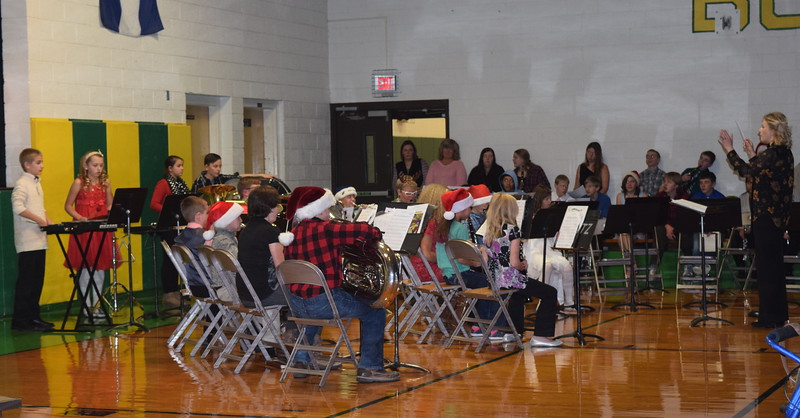"Peetz School fifth and sixth grade band performs ""We're Off to See the Wizard,"" under the direction of Jamie Wheelock, during the school's K-12 Winter Concert, Tuesday, Dec. 6, 2016."