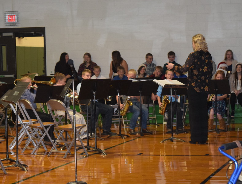 "Peetz School's fourth grade band performs ""Jingle Bells,"" under the direction of Jamie Wheelock, during the school's K-12 Winter Concert, Tuesday, Dec. 6, 2016."
