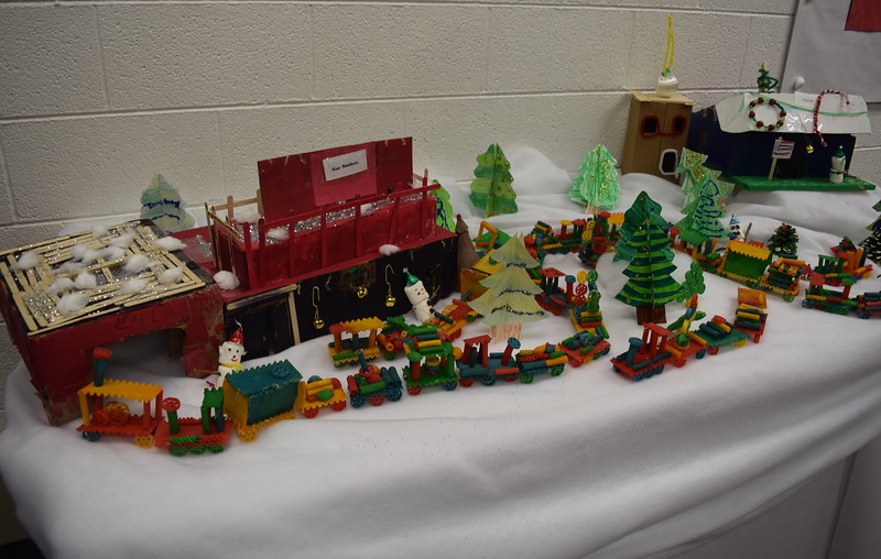 A second display shows the town's cafe, gas station and school, at Peetz School's K-12 Winter Concert, Tuesday, Dec. 6, 2016.