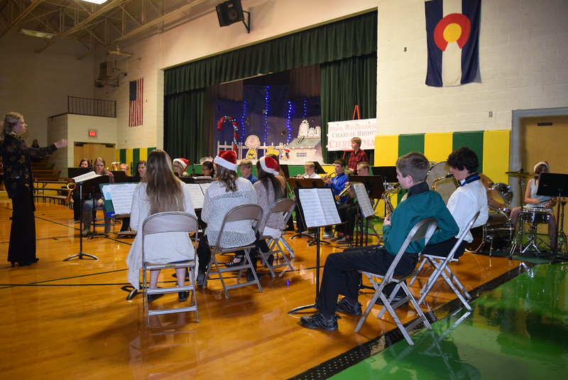 "The Peetz School Junior High/High School Band performs ""Christmas Time With Charlie Brown,"" under the direction of Jamie Wheelock, during the school's K-12 Winter Concert, Tuesday, Dec. 6, 2016."