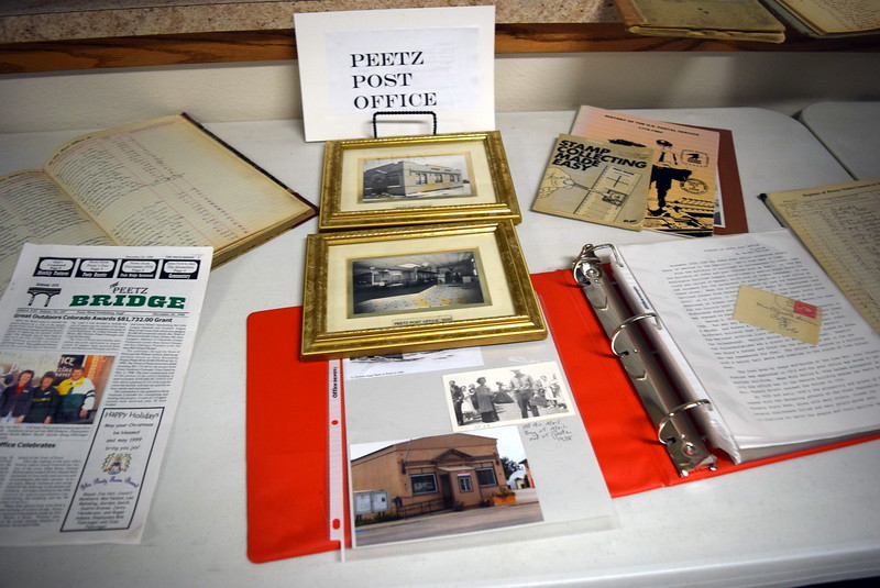 "Photographs and information on the Peetz Post Office, which opened in 1908, was on display at Peetz Sake Days ""Still on the Hill"" Centennial Celebration Saturday, Sept. 30, 2017."