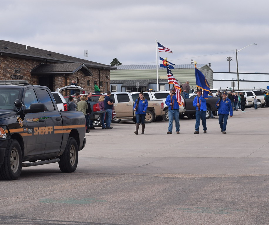 """A Logan County Sheriff's Office vehicle and the color guard lead the Peetz Sake Days """"Still on the Hill"""" Centennial Parade Saturday, Sept. 30, 2017."""