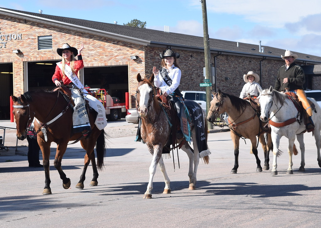 """. Miss Rodeo Logan County Morgan Duncan joins other horseback riders in the Peetz Sake Days \""""Still on the Hill\"""" Centennial Parade Saturday, Sept. 30, 2017."""