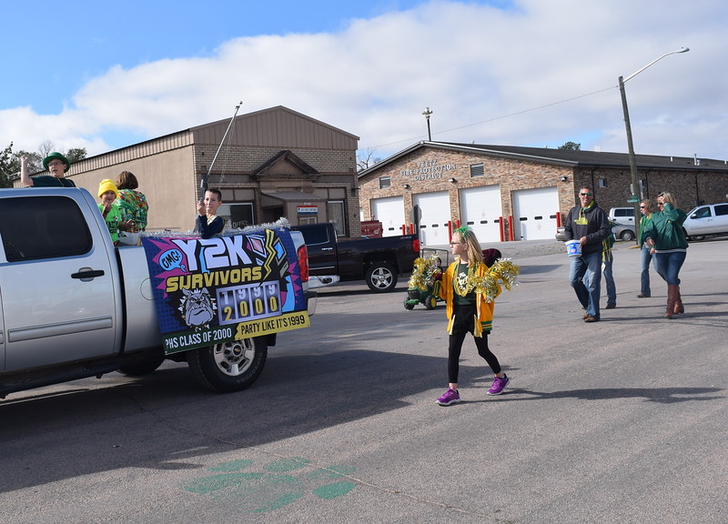 "The Peetz High School Class of 2000 float declares that they are Y2K Survivors during the Peetz Sake Days ""Still on the Hill"" Centennial Parade Saturday, Sept. 30, 2017."