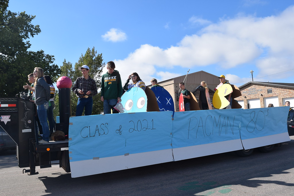 """. The Class of 2021 went back to the 1980\'s for their Pac-Man themed float in the Peetz Sake Days \""""Still on the Hill\"""" Centennial Parade Saturday, Sept. 30, 2017."""