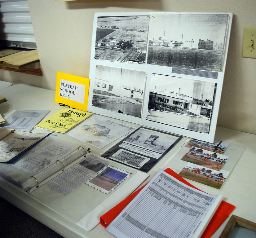 """Photographs and information about Peetz School was on display at Peetz Sake Days """"Still on the Hill"""" Centennial Celebration Saturday, Sept. 30, 2017."""