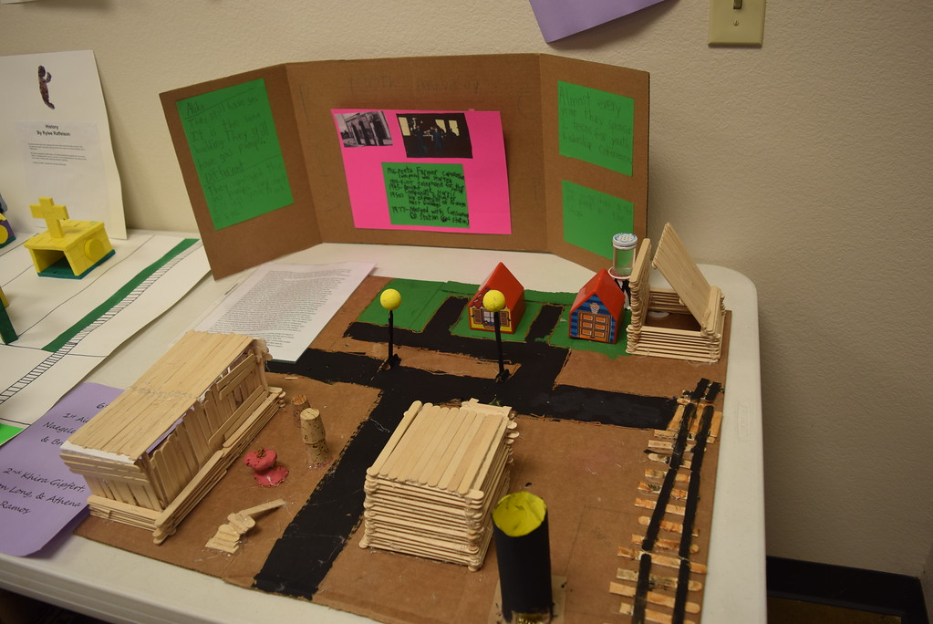 """. A diorama depicting the Town of Peetz was among the student projects on display at the Peetz Sake Days \""""Still on the Hill\"""" Centennial Celebration Saturday, Sept. 30, 2017."""